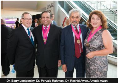 Pictured: Dr. Barry Lembersky, Dr. Pervais Rahman, Dr. Rashid Awan, Amada Awan
