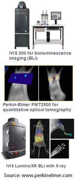 IVIS 200, Perkin-Elmer FMT2500, and IVIS Lumina